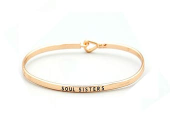 Soul Sisters - Engraved bracelet, gift for her, stacking bangles, boho jewelry, thin bangle, layering, gift for wife, personalized, friend