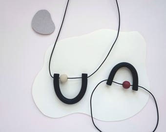 Mini U Necklace - Black (Leather + Clay Beads)