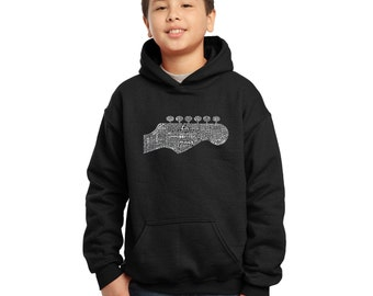 Boy's Hooded Sweatshirt - Guitar Head Created out of 63 Genres of Music