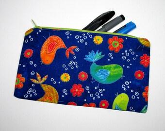 Blue Birds, Floral Pencilcase | zipper pouch, purse, makeup bag