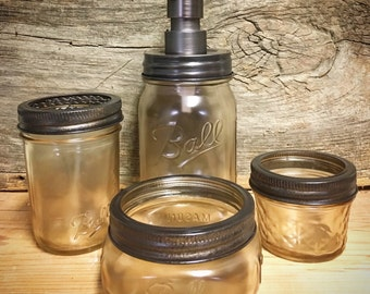Bathroom Accessories-Mason Jar Bathroom Set 4pc-Mason Jar Bathroom- Soap Dispenser-Toothbrush Holder-Rust Resistant*