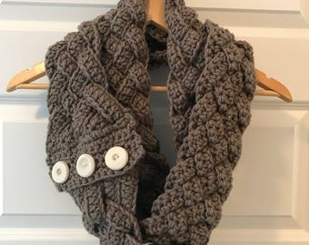 Double Braided Crochet Infinity Scarf