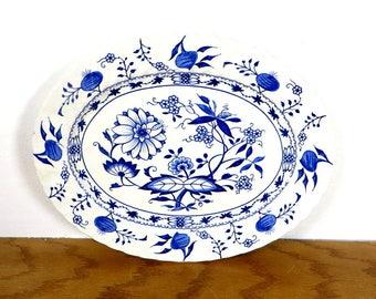Vintage Blue Onion Platter Staffordshire England Blue and White Platter Blue Lily Serving Platter Ironstone Platter Farmhouse Kitchen