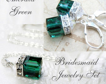 Emerald Crystal Jewelry Set, Green Swarovski Cube, Sterling Silver, Bridesmaid Necklace and Earrings, Wedding May Birthday, Birthstone Gift