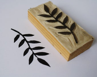 Nature Branch Hand Carved Lino Stamp Block, Rubber Stamp