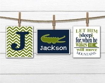 Alligator Nursery  - 3 Print Set - Boy's Nursery Decor Children's Room Decor