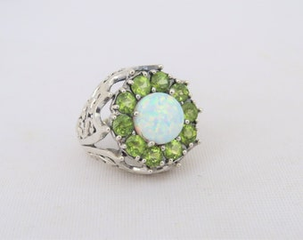 Vintage Sterling Silver White Opal & Peridot Cluster High Dome Ring Size 7.5