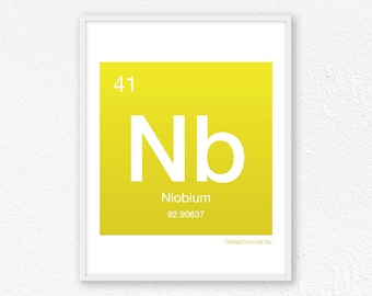 41 Niobium, Periodic Table Element | Periodic Table of Elements, Science Wall Art, Science Poster, Science Print, Science Gift