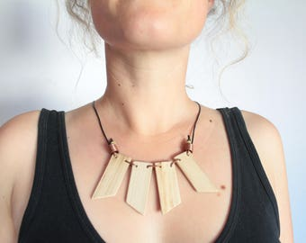 Handmade Wooden Necklace, Statement Necklace, Up-cycled Wood, Copper, Leather, Natural Wood, Boho, Hippie, Festival Wear, Tribal, Geometric