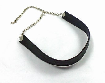 black leather choker, Leather and sterling silver choker, Gothic Choker