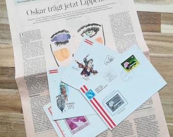 vintage オーストリアFDC封筒4枚とピンクブラウンのドイツ語新聞
