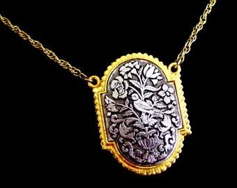 Art Deco Bird Locket Pendant, Vintage Perfume Locket, Statement Necklace, Gold Silver Floral Art Nouveau Pendant, Two Tone Locket