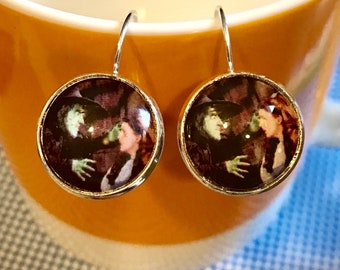 Wizard of Oz Wicked Witch and Dorothy cabochon earrings - 16mm