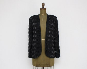 Black Sequin Blazer by Adrianna Papell - Size Large Vintage 1980s Beaded Jacket