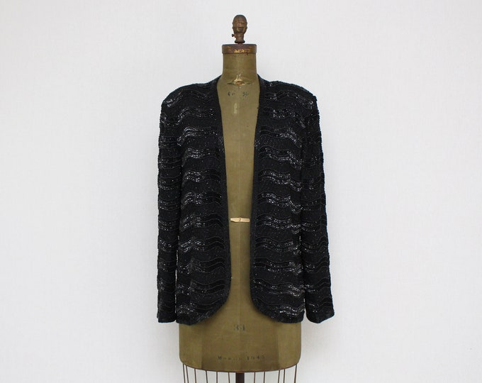 Vintage 1980s Black Sequin Blazer by Adrianna Papell - Size Large