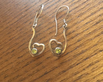 Sterling Silver Heart with Faceted Peridot Earrings - 925