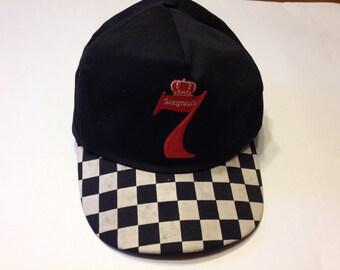 Vintage Checkered Bill Seagrams 7 Alcohol Adjustable Snapback Hat Cap