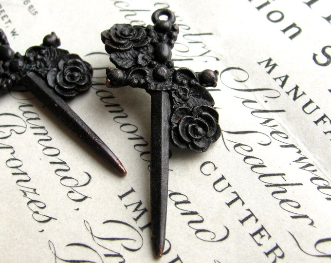Rose dagger, (2) 40mm rosary black Gothic cross pendants, Bad Girl Castings, antiqued black pewter, dark ages, Medieval weapon, Love tattoo