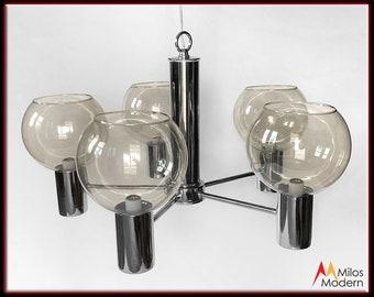 Danish Mid Century Modern 5 Arm Chrome & Glass Chandelier Light NOS New Unused