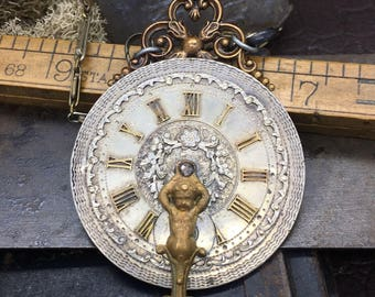 On sale from 398.00 Circa 1800 pocket watch necklace with vintage frence Cherb