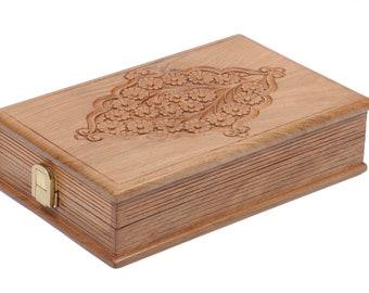 Hand Carved Walnut Book Charkha (Standard)