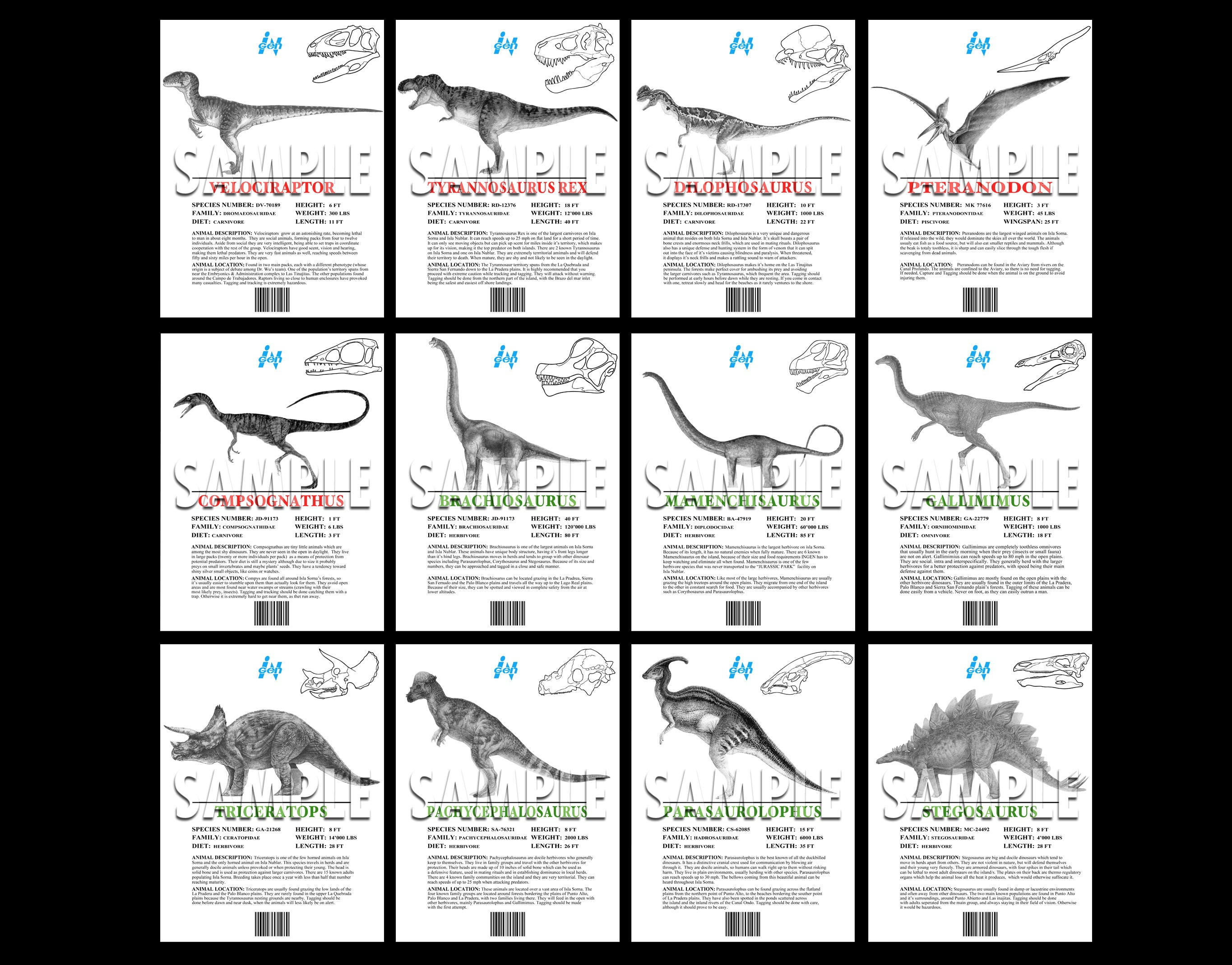 Jurassic Park The Lost World Dino Info Sheets Printable