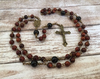 Rosewood Traditional Five Decade Catholic Rosary with Miraculous Medal