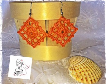 Summer, very summery Argyle in bright orange crochet earrings