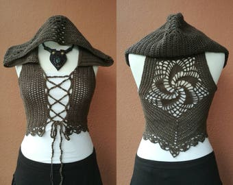 Made To Order - Unique Faerie crochet vest, Elven clothing, Natural, Hooded vest, Psy, Festival, Bohemian
