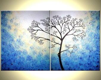 Blue White Tree, Original Tree Painting, Abstract Contemporary Landscape, Fine Art Painting - 30x48 Lafferty, Mothers Gift, Gift For Her