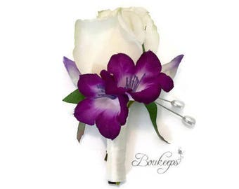 CHOOSE RIBBON COLOR - White Rosebud Boutonniere, Purple Bellflower, Purple Flower, Real Touch Boutonniere, White Rosebud, Groom, Wedding
