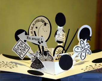 Greeting card Kit pop up black and white