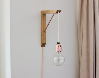 Light Bracket & Pendant Light Kit - Lighting Fixture - Wooden Lighting Bracket - Lighting - Wall Lighting - Vintage Edison Bulb - Sconce