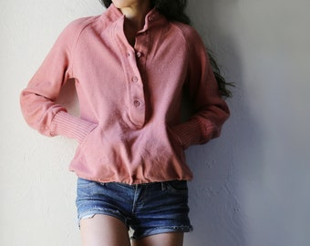 Vintage 1950s Rose Wool Pullover with Pockets, Dalton