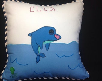 Custom Kids Art Drawing Embroidered Appliqued Pillow Cushion Cover
