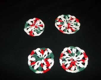 Four Crocheted Christmas Coasters  -100% Handmade  Red,Green and White