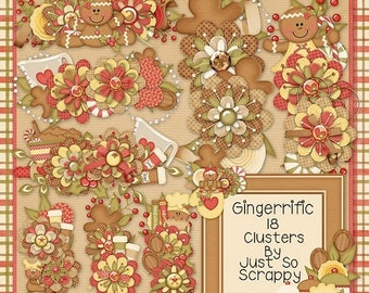 On Sale 50% Off Christmas Gingerrific Digital Scrapbook Kit, Clusters, Holiday, Gingerbread