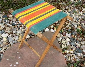 Vintage Wooden Folding Stool- Fishing-Camping- Beach Stool- wood stool- photo prop- cabin- retro stool-mid century- man cave-1950s