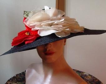 Designer Large Brim Black Straw Hat with Red/White Silk Poppy Trim   Item #806  Hats