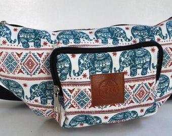 Fanny Pack green / red  elephant  hip bag,bum bag,waist bag,belt bag,hip pouch, festival bag, concerts bag, festival bag ,camping bag