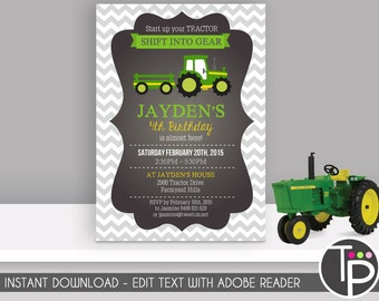 TRACTOR Invitation, Instant Download TRACTOR Invitation, Green Tractor Invitation, Tractor Party, Edit yourself with Adobe Reader