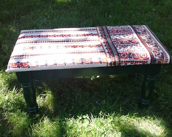 Small reupholstered bench in funky fabric