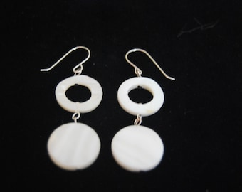 Mother of Pearl Dangling Earrings Silver