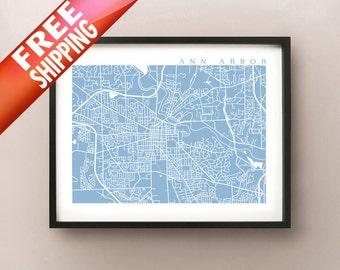 Ann Arbor Map Print - Michigan