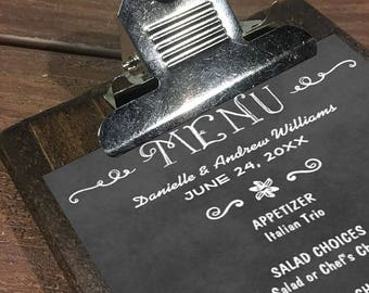 Restaurant Menu Boards with Silver Clipboard Clip - Rustic Menu Boards - Rustic Wood Clipboard