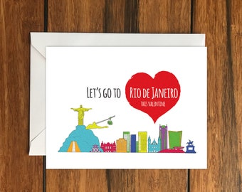 Let's Go To Rio de Janeiro This Valentine Blank greeting card, Holiday Card, Gift Idea A6