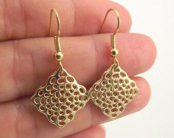 Gold Diamond Web Earrings, Diamond Gold Earrings, Shiny Gold Earrings
