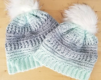 Crochet Winter Hat - Crochet Beanie - Mommy and Me Hats - Fur Pom Beanie - Womens Hats - Childrens Hats - Fall Fashion - Fall Hat