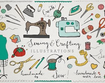 Sewing and Crafting Clipart - sewing machine, crafting clipart, sewing clip art , needle and thread, hand drawn, button, thread clip art