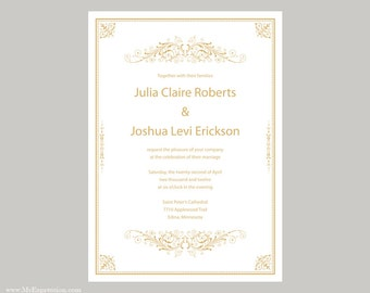 Wedding Invitation Template 5x5 Square Silver Gray Damask